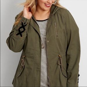 Maurice's Velvet Lace Up Utility Army Green Jacket